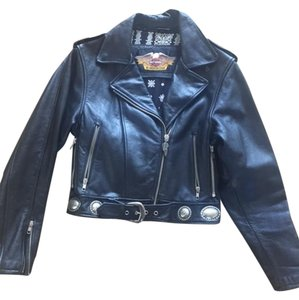 Harley Davidson Vintage Motorcycle Leather Silver Hardware Motorcycle Jacket