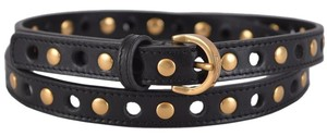 Saint Laurent Saint Laurent Women's 328525 Black Leather Studded Skinny Belt 34 85