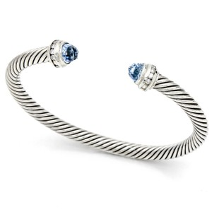 David Yurman David Yurman Hampton Blue Topaz Diamonds Cable Classics Bracelet