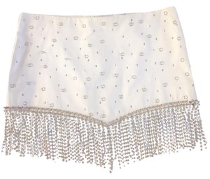 H&M Jewel Bling Holiday Party Mini Mini Skirt cream with silver accents