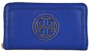 Tory Burch Tory Burch Blue Leather Amanda Logo Zip Continental Clutch Wallet