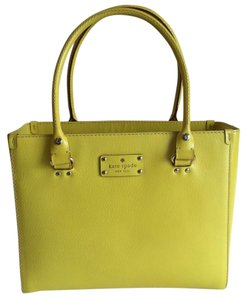 Kate Spade Leather Gold Hardware Tote in Yellow