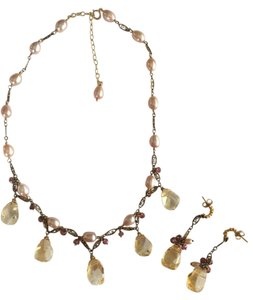 Echo of the Dreamer Antique Gold Pink Pearl & Citrine Necklace & Earring Set