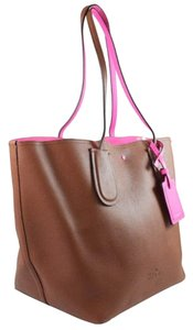 Coach 34415 Leather Tote in SADDLE/NEON PINK