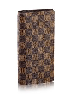 Louis Vuitton France Damier Ebene Brazza Long Wallet with zip coin pocket