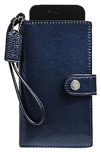 Coach BNWT Coach Phone Clutch Wristlet Mettalic Midnight F53977