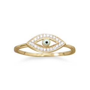 NEW 14k GP Evil Eye Ring NEW 14 Karat Gold Plated CZ Evil Eye Ring