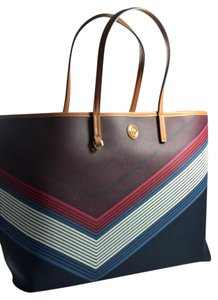 Tory Burch Kerrington Square Cameron Tote in Red Agate Lyon Stripe