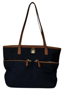 Michael Kors Kempton Nylon Leather Tote in Navy