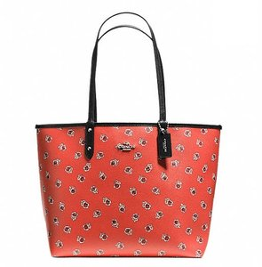 Coach Satchel Shoulder Tote in SILVER/WATERMELON MULTI/BLACK