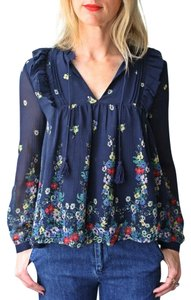 Sea New York Ruffle Floral Top Blue