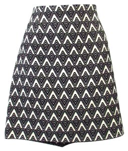 Elliott Lauren Geometric Mini Skirt Black and White