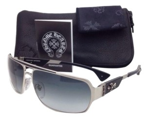 Chrome Hearts New CHROME HEARTS Sunglasses MOUNT BS Silver&Black Frame w/Grey Fade