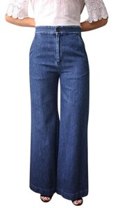 Sea New York Lace Up Denim Trousers Trouser/Wide Leg Jeans-Dark Rinse