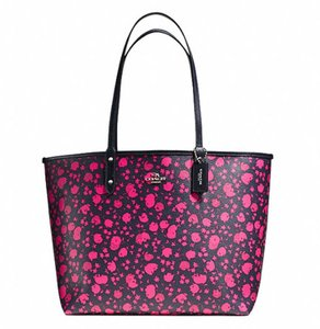 Coach Satchel Shoulder Tote in SILVER/PINK RUBY MULTI MIDNIGHT