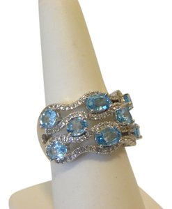 Victoria Wieck Victoria Wieck 4.29ctw White Topaz and Blue Zircon Ring