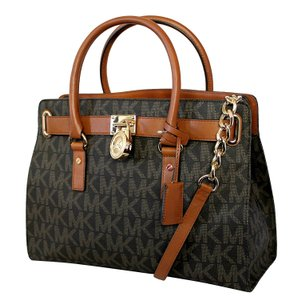 Michael Kors Hamilton Large Ew Satchel in Brown Signature