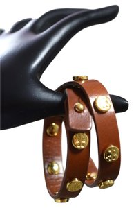 Tory Burch Tory Burch Logo Studded Double Wrap Bracelet Brown Leather