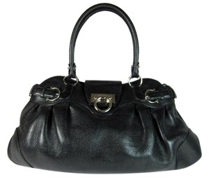 Salvatore Ferragamo Leather Logo Metal Black Gancio Shoulder Bag