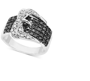 Macy's Black and White Diamond Buckle Ring in Sterling Silver