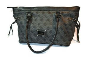 Guess Monogram Large Satchel in Black and Gray