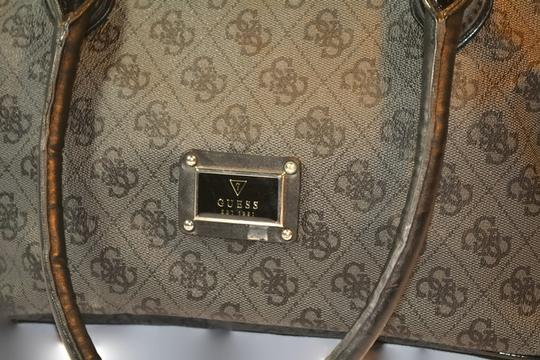 Guess Monogram Large Purse Satchel in Black and Gray