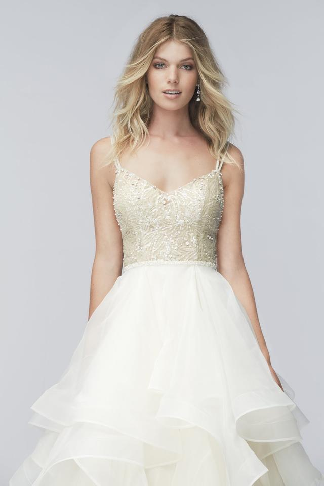 Wtoo Prosecco Matte Organza Skirt And Ed Sequined Bodice Kennedy Feminine Wedding Dress Size 8