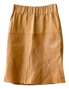 COS Vintage Leather Skirt Tan
