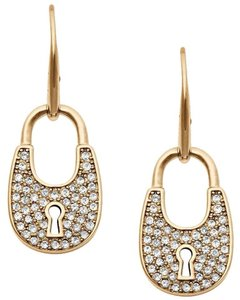Michael Kors NWT Heritage Padlock Pave Gold Tone Drop Earrings mkj4889710