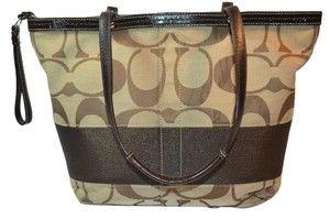 Coach Monogram Signature Satchel in Tan and Brown