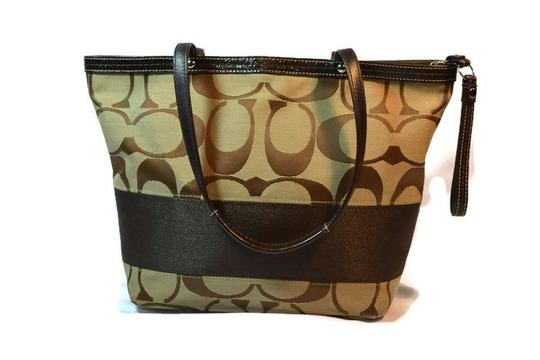 Coach Monogram Signature Tan/Brown Satchel in Tan and Brown