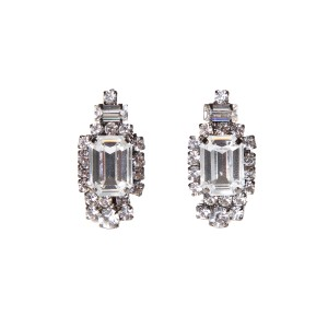 Moans Moans Couture Art Deco Silver Earrings