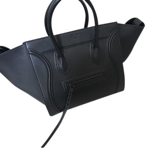 Céline Leather Used Once Dustbag Tags Satchel in Black