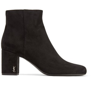 Saint Laurent Ankle Suede New Bootie Chunky Black Boots