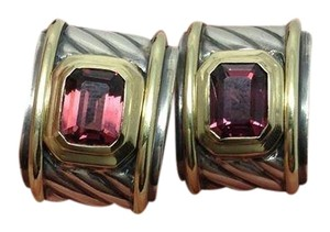 David Yurman sterling silver, 14k yellow gold, pink tourmaline earrings