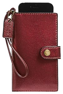 Coach BNWT Coach Phone Clutch Leather Mettalic Cherry F53977