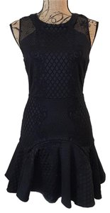 Parker Jacquard Mesh Peplum Cocktail Panel Dress
