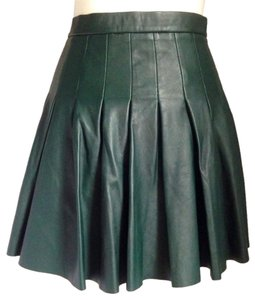 AllSaints Pleated Leather Mini Mini Skirt Bottle Green
