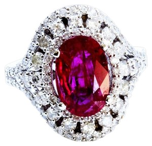 Dignity Jewels 3.06CT NATURAL RUBY 14K WHITE GOLD RING