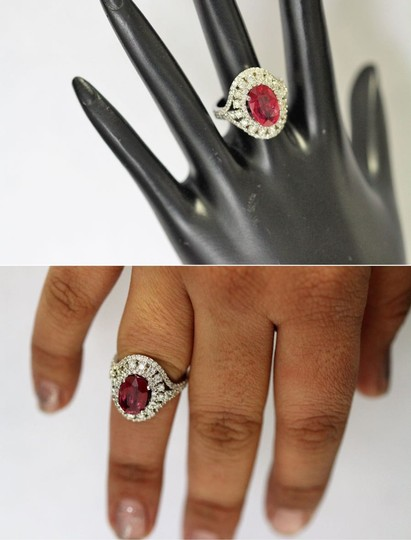 Dignity Jewels 3.06CT NATURAL RUBY 14K WHITE GOLD RING Image 3