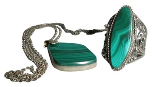 malachite pendant and ring set