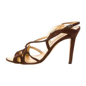 Manolo Blahnik Brown Suede Sandals
