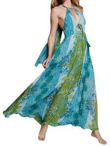 Blue Green Maxi Dress by Free People Printed Maxi Draped Boho Printed Cocktail Formal Homecoming Bohemian Festival
