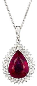 Dignity Jewels 19.54CT NATURAL RUBELLITE 18K WHITE GOLD PENDANT