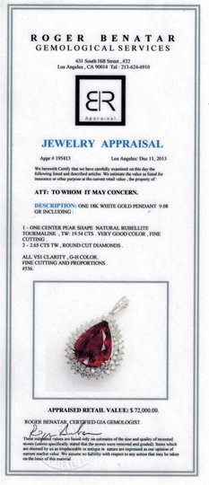 Dignity Jewels 19.54CT NATURAL RUBELLITE 18K WHITE GOLD PENDANT Image 2