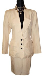 Saint Laurent Yves Saint Laurent YSL Cream 100% Silk Skirt Suit Sz 40 US 8