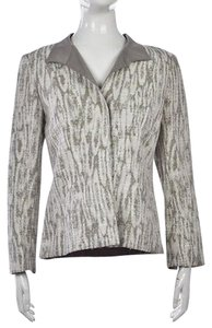 Lafayette 148 New York Womens White Multi-Color Jacket