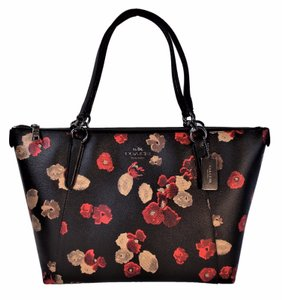 Coach Coated Canvas Red Tote in Black Multi