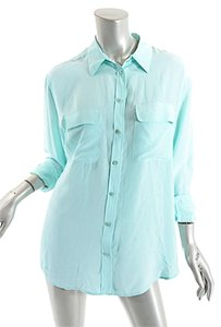 Equipment Femme Button Down Shirt Blue Green Seafoam