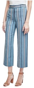 Ann Taylor Striped Wide Leg Midcalf Wide Leg Pants Blue Haze